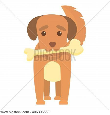 Playful Dog With Bone Icon. Cartoon Of Playful Dog With Bone Vector Icon For Web Design Isolated On