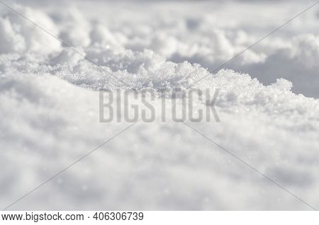 Abstract Snowy Ground. Winter Landscape With Hills Covered With Snow. Fresh Snow Cover Scenery. Snow