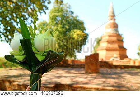 Closeup A Bouquet Of Lotus Flowers For Offering With Blurry Old Pagoda Of Wat Phra Ngam Temple Ruins