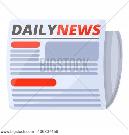 Daily Newspaper Icon. Cartoon Of Daily Newspaper Vector Icon For Web Design Isolated On White Backgr