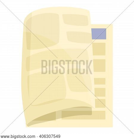 Front Newspaper Icon. Cartoon Of Front Newspaper Vector Icon For Web Design Isolated On White Backgr