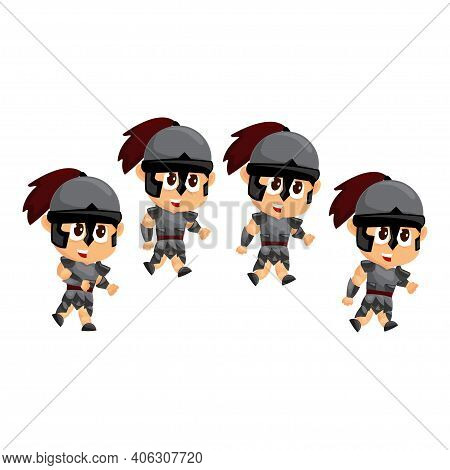 Spartan Cartoon Idle Game Character Animation Sprite Template