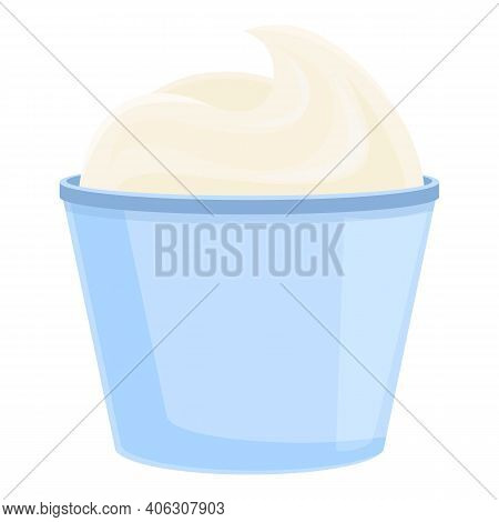 Milk Sour Cream Icon. Cartoon Of Milk Sour Cream Vector Icon For Web Design Isolated On White Backgr