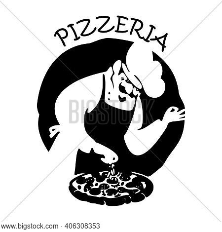 Baker In Uniform With Pizza. Logo For A Pizzeria. Black And White Graphics. Hand-drawn Sketch Vector