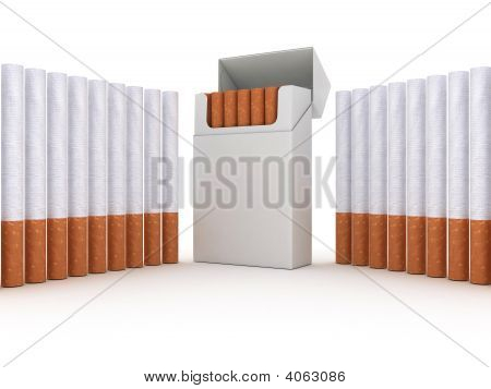 Open Pack Of Cigarettes & Cigarettes