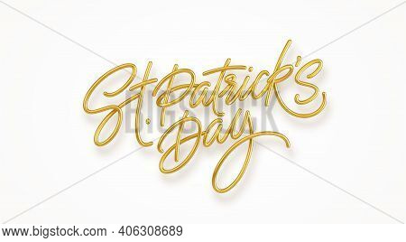 Golden Realistic Lettering Happy St. Patricks Day Isolated On White Background. Design Element For P