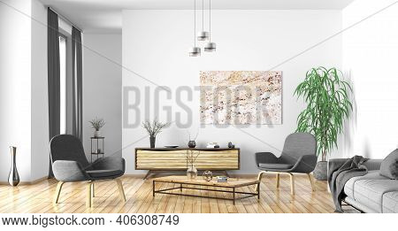 Modern Interior Design Of Scandinavian Apartment, Living Room With Gray Sofa, Sideboard And Armchair