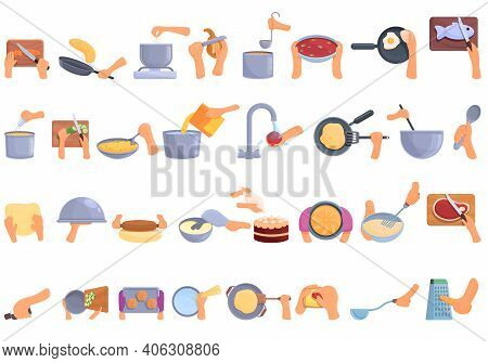 Hands Preparing Foods Icons Set. Cartoon Set Of Hands Preparing Foods Vector Icons For Web Design