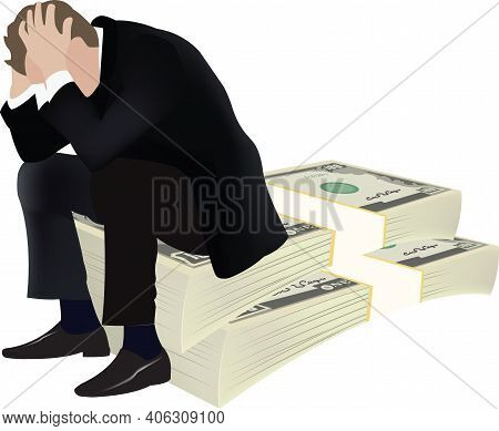 Desperate Depressed Person Sitting Over Pile Of Currency