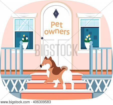Dog Stands On Doorstep With Beautiful White Retro Vintage Front Door With Inscription Pet Owners. Wi