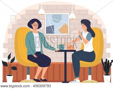 Women Drinking Tea. Girls Spend Time Outdoors. Female Friends Are Sitting In Cafe, Communicating And