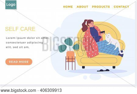 Self Care Landing Page Template With Sick Woman Drinking Tea During Quarantine. Female Character Wra