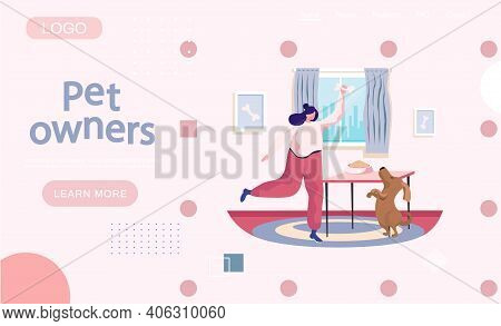 Pet Owners Landing Page Template. Happy Woman Playing With Dog, Funny Girl Jumping Training Puppy Fe