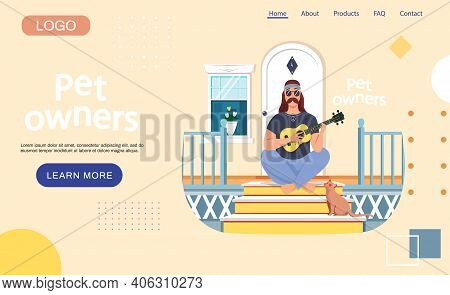 Pet Owners Landing Page Template. Male Bard Sitting With Ukulele On Doorstep. Cat Listens To Masters