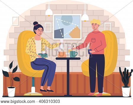Home Treatment Concept. Guy With Sick Girl Drink Tea And Take Medicine. Man Passes Pills To Woman. F