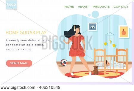 Girl With Headphones Dancing And Singing. Person Listening To Music. Female Character Performs Songs
