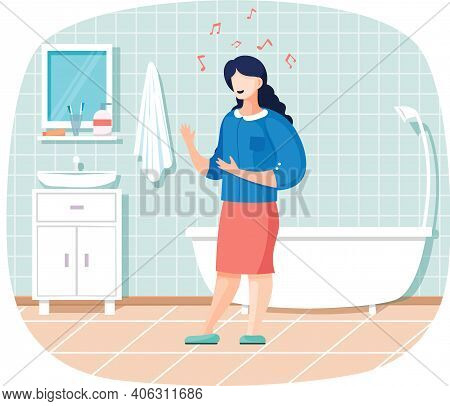 Young Pretty Woman Singing In Bathroom. Female Character In Business Suit Is Performing Song. Music
