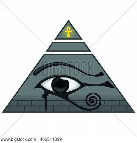 Illustration Of Ancient Egyptian Pyramid With The Eye Of Horus, Ancient Egyptian Symbols, Eye Of Hor