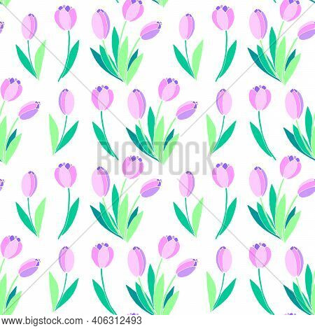 Vector Seamless Pattern With Pink Tulip Flowers. Hand Drawn Spring Texture, Background. For Wrapping