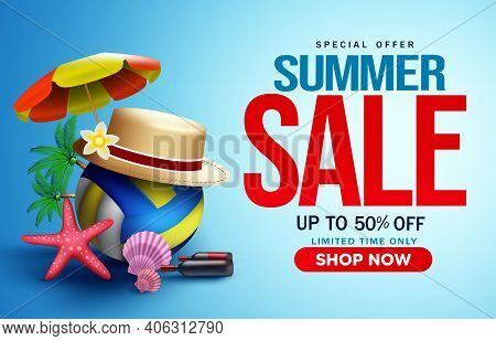 Summer Sale Vector Banner Background. Summer Sale Special Offer Text With Tropical Season Elements L