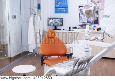 View At Equipment In The Modern Dentist Office. Stomatology Equipment In Dental Private Hospital Wit