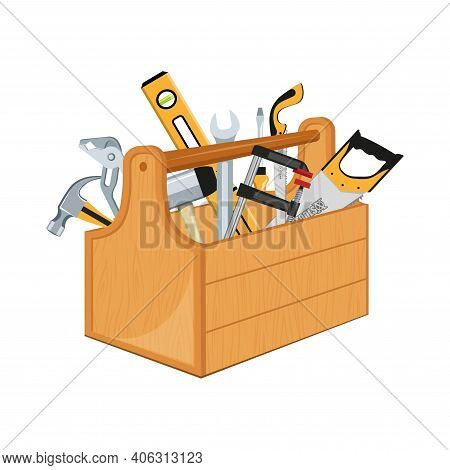 Toolbox With Hand Tools Inside. Workbox With Instruments. Building Tools. Instruments For Renovation