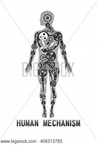 Vertical Poster, Vector Illustration, Human Body Model Concept, Internal Organs And Life Mechanism O