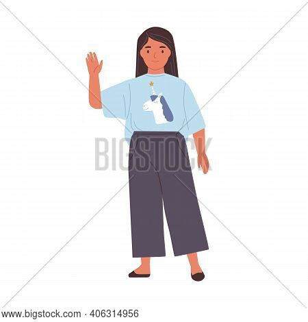 Smiling Girl With Friendly Face Waving Hand And Saying Hi Or Bye. Happy Kid Gesturing Hello Or Goodb
