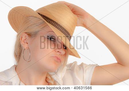 A Blonde Girl With A Straw Hat