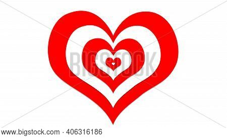 Red And White Hearts With Illusion Effects, Sign And Symbol Of Love , Show Your Love For Valentine's