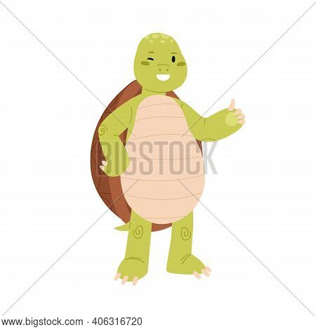 Cute And Happy Green Turtle With Thumb Up Gesture. Funny Smiling Tortoise Character Winking And Show