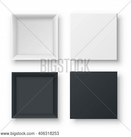 Realistic Open Empty Gift Boxes Two View. Paper Square Cardboard White And Black Container Mockups.