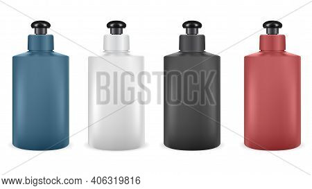 Shampoo Bottle. Vector Lotion Package Blank Design Isolated On White Background. Shower Gel Plastic