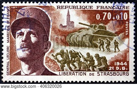 France - Circa 1969: A Stamp Printed In France Shows General Leclerc, Marshal Of France, La Madelein