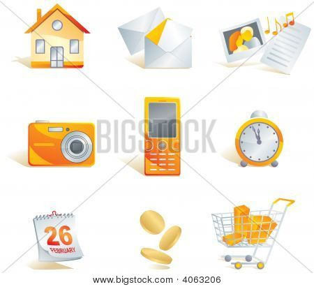 Icon Set - Web, Commerce And Electronics Items