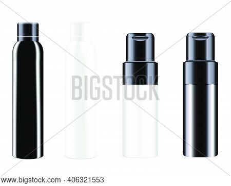 Spray Bottle. Vector Can, Aluminum Tin Deodorant Blank. Cosmetic Spray Container Mockup. Realistic A