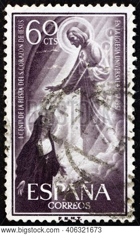Spain - Circa 1957: A Stamp Printed In Spain Shows St. Marguerite Alacoque's Vision Of Jesus, Centen