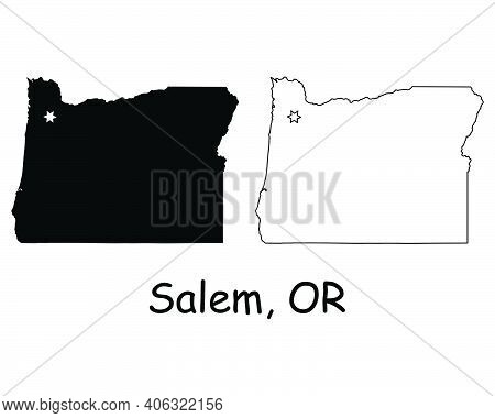 Oregon Or State Map Usa With Capital City Star At Salem. Black Silhouette And Outline Isolated On A