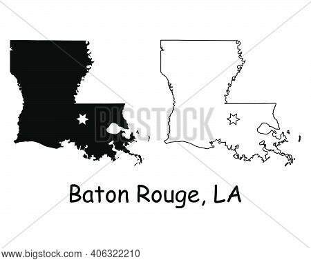 Louisiana La State Map Usa With Capital City Star At Baton Rouge. Black Silhouette And Outline Isola