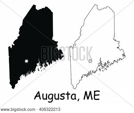 Maine Me State Map Usa With Capital City Star At Augusta. Black Silhouette And Outline Isolated On A