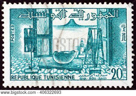 Tunisia - Circa 1959: A Stamp Printed In Tunisia Shows Room In Arab House, Sidi-bou-said, Circa 1959