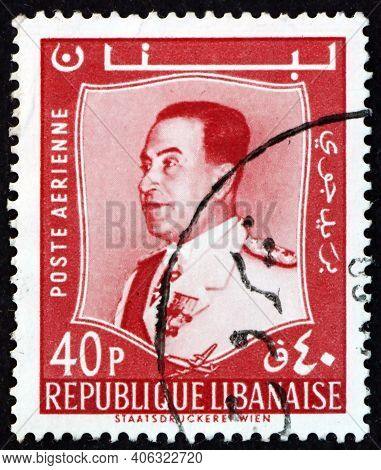 Lebanon - Circa 1960: A Stamp Printed In Lebanon Shows Fuad Chehab, Was The President Of The Lebanes