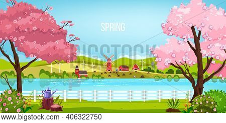 Spring Landscape Vector Green Nature Background With River, Blooming Sakura Trees, Mill, Meadow, Hil