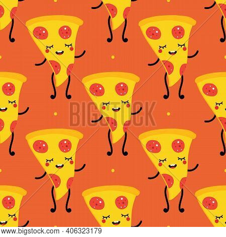 Cute Smiling Pepperoni Pizza Slice Character Vector Seamless Pattern Background.