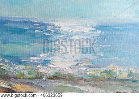 Abstract Blue Sea Background With Oil Paint. Summer Art Background. Natural Light Blue Texture Of Th