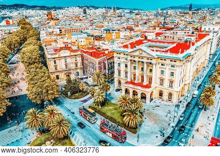 Barcelona, Spain - September 03: View Of The Greatest Street Rambla  In Barcelona A  In September 03