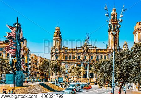Barcelona, Spain - August  28, 2008: Beautiful Landscape Of The Urban View Barcelona, Catalonia.the