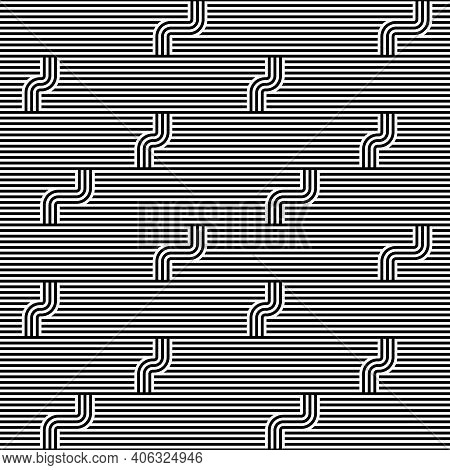 Seamless Geometric Striped Pattern. Monochrome Striped Loopy Ribbon, With Maze Elements. Geometric G