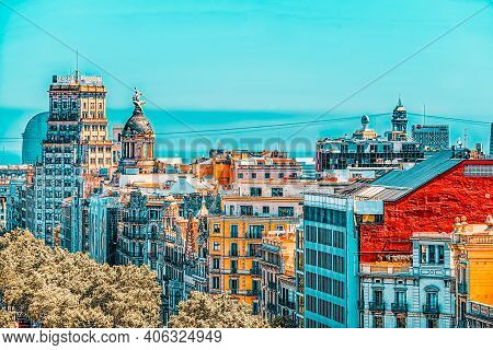 Panorama Of The Center Of Barcelona, The Capital Of The Autonomy