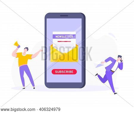 Subscribe Now To Our Newsletter Vector Illustration With Tiny People Working With Smartphone, Envelo